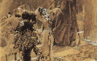 Картина «летящий демон», михаил врубель, 1899