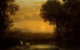 Пейзаж с купцами, клод лоррен — описание картины