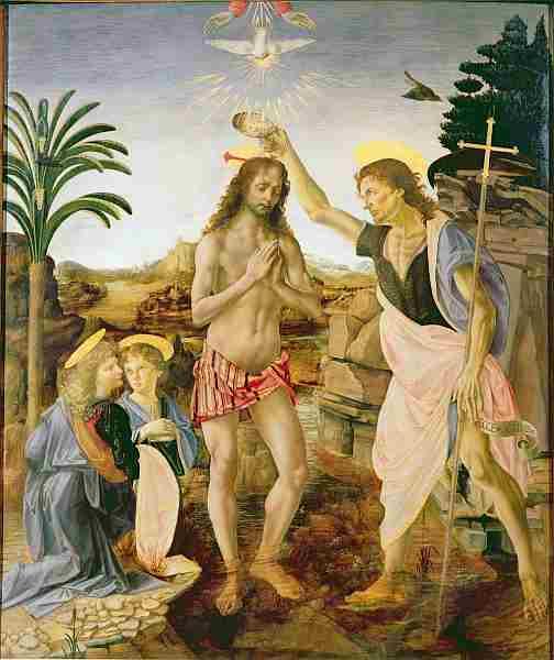 Крещение Христа, Андреа Верроккьо и да Винчи