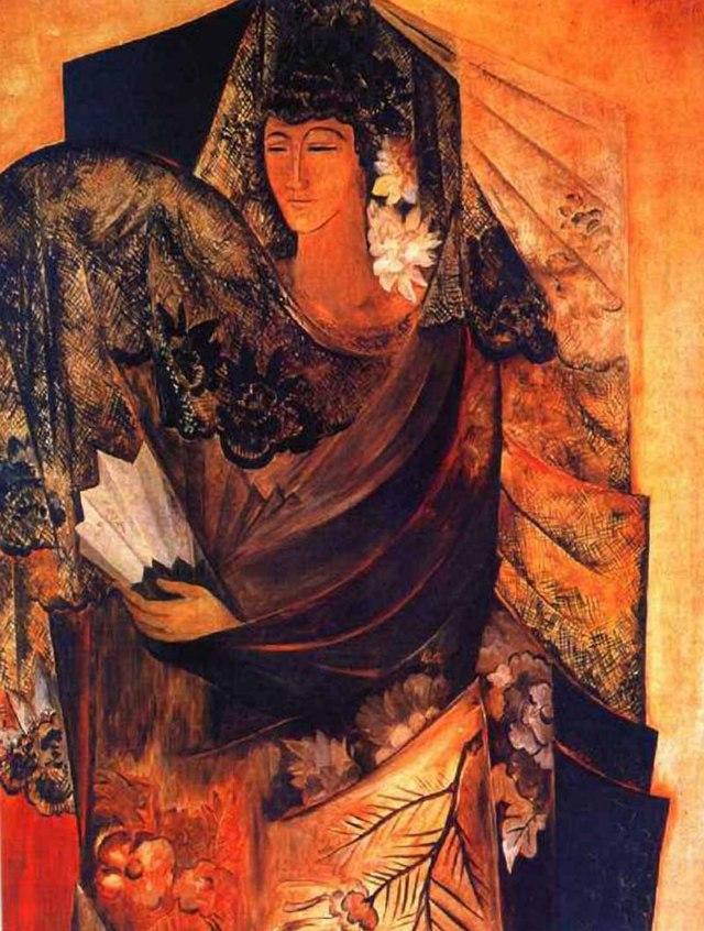 Автопортрет с желтыми лилиями, Н. С. Гончарова, 1907