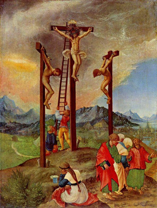 «Распятие. Христос на кресте, Мария и Иоанн», Альбрехт Альтдорфер — описание картины