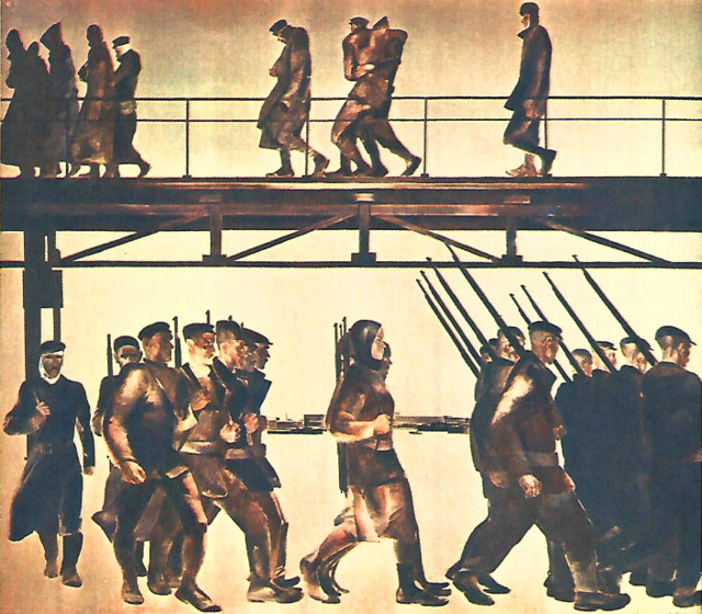 «Оборона Петрограда», Дейнека — описание картины