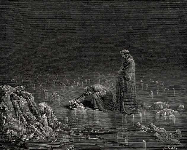Антей, опускающий Данте и Вергилия в последний круг ада, У. Блейк