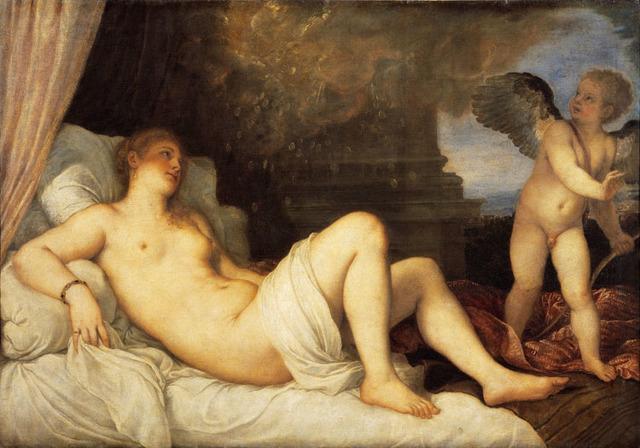 Венера, завязывающая глаза Амуру, Тициан Вечеллио