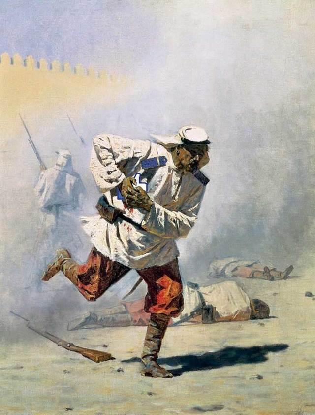 Смертельно раненный, Верещагин - описание картины