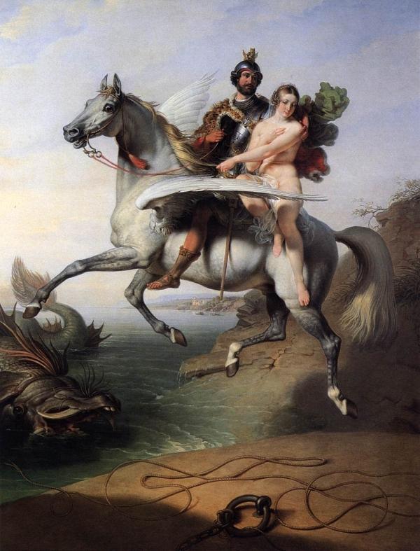 Руджиеро, освобождающий Анжелику, Энгр