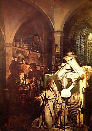 «Алхимик, открывающий фосфор», Джозеф Райт — описание картины