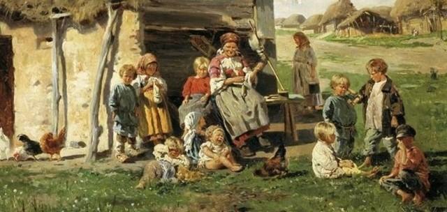 Дети-сироты на кладбище, Перов, 1864