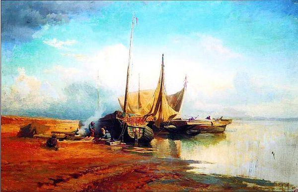 Картина «Вход рыбачьего судна в бурю в гавань Сен-Валери в Ко», А. П. Боголюбов