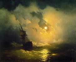 Буря на море ночью, Айвазовский, 1849