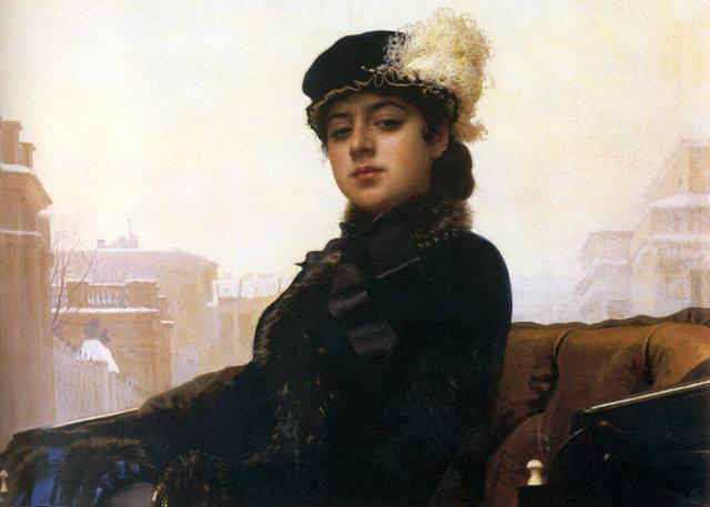 Девушка с кошкой, Крамской — описание картины