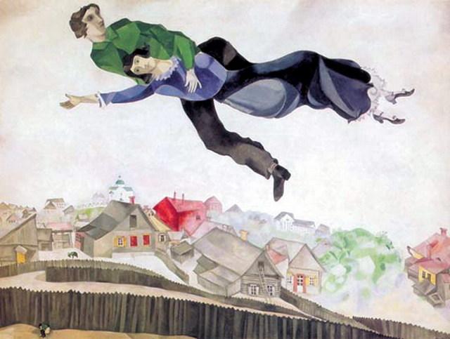 Над Витебском, Марк Шагал - описание картины
