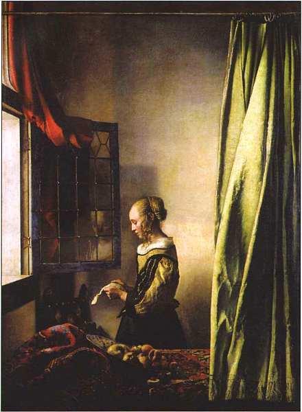 Девушка, читающая письмо у раскрытого окна, Ян Вермеер Дельфтский, 1657