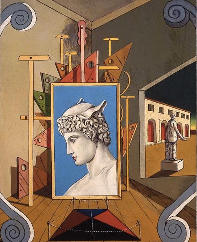 Метафизический интерьер с печеньем, де Кирико, 1968