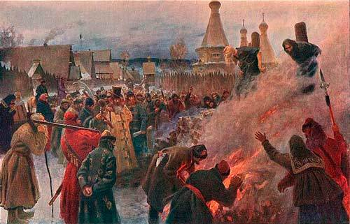 Сожжение протопопа Аввакума, Мясоедов, 1897
