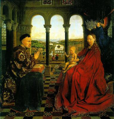 Богоматерь с Младенцем на троне в храме (триптих), Ян ван Эйк, 1437