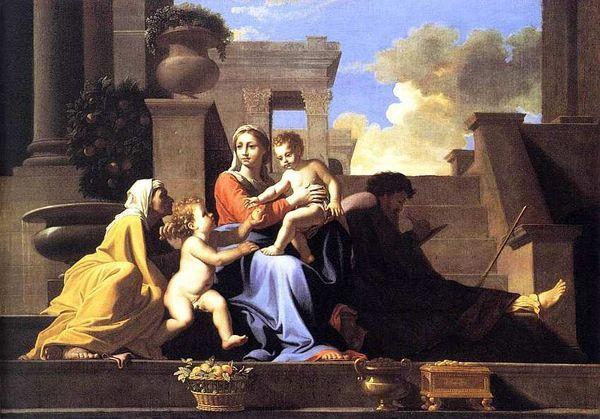 Святое семейство на лестнице, Пуссен, 1648