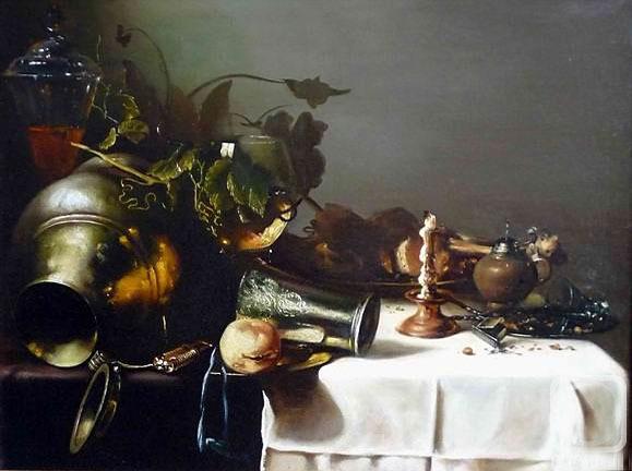 «Натюрморт с часами», Антонио Переда — описание картины