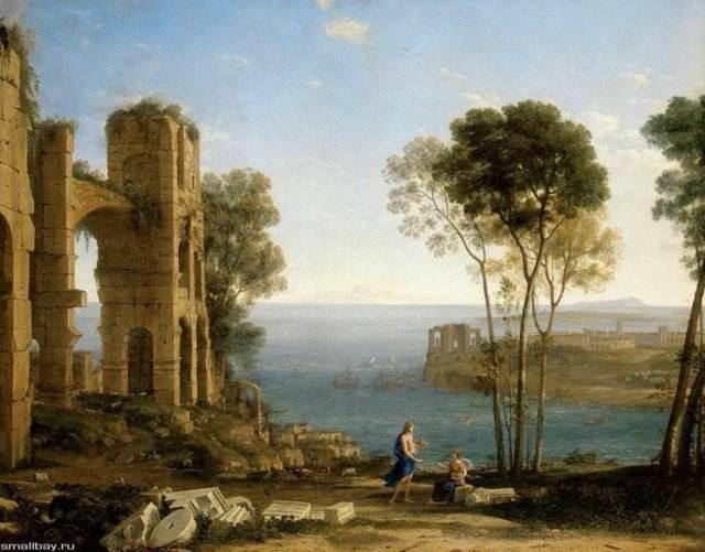 Порт на закате, Клод Лоррен - описание картины