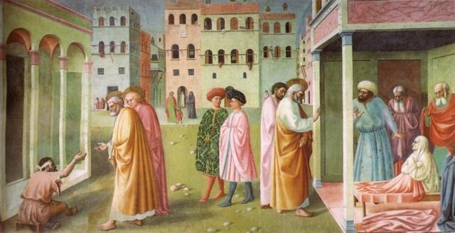 Воскрешение сына Теофила, Мазаччо и Филиппино Липпи