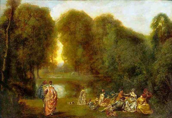 Общество в парке, Антуан Ватто