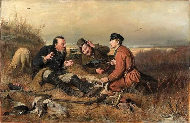 Описание картины «Охотники на привале», Перов, 1871