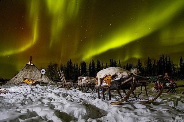 «Геммерфест. Северное сияние», Константин Коровин — описание картины