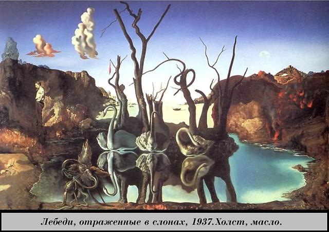 Лебеди, отраженные в слонах, Сальвадор Дали, 1937