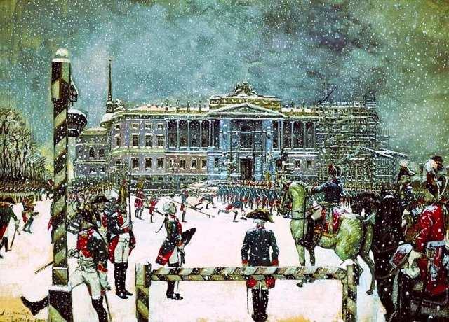 Парад в царствование Павла i, А. Н. Бенуа, 1907