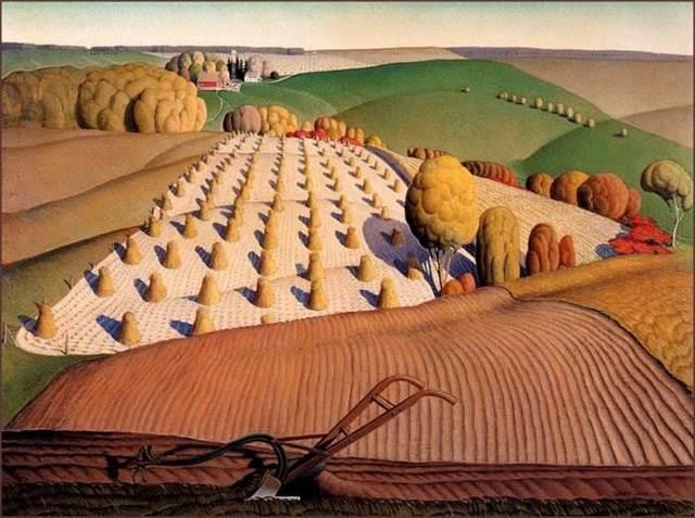 «fall plowing», Грант Вуд — описание картины