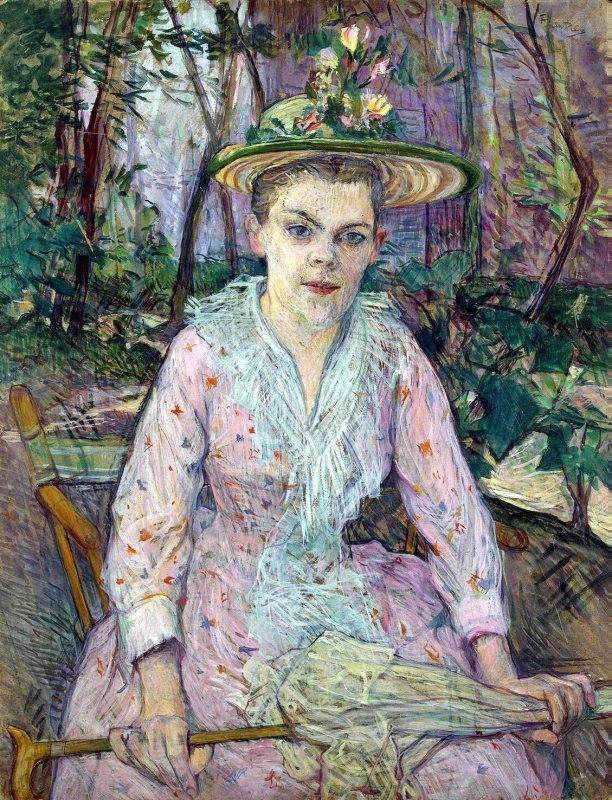 Женщина с зонтиком (Глухая Берта в саду господина Фореста) - Тулуз-Лотрек