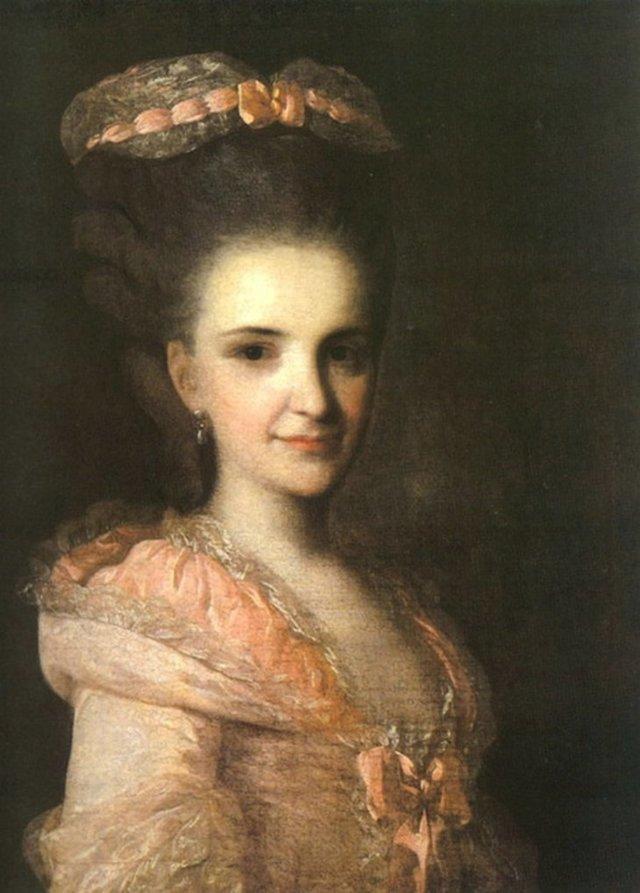 Портрет графини Е. В. Санти, Рокотов - описание