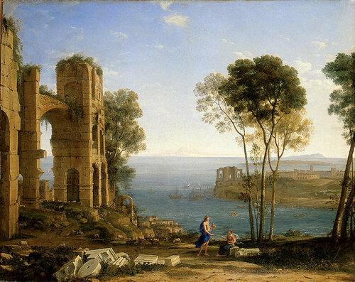 Пейзаж с купцами, Клод Лоррен - описание картины