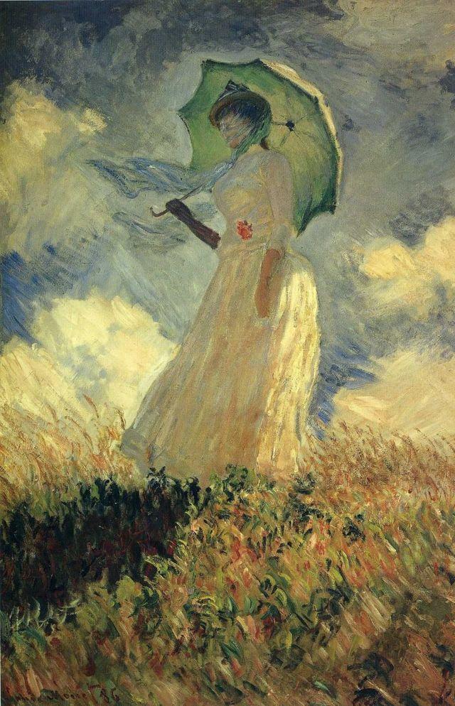 Дама с зонтиком, повернувшаяся налево, Клод Моне - описание картины
