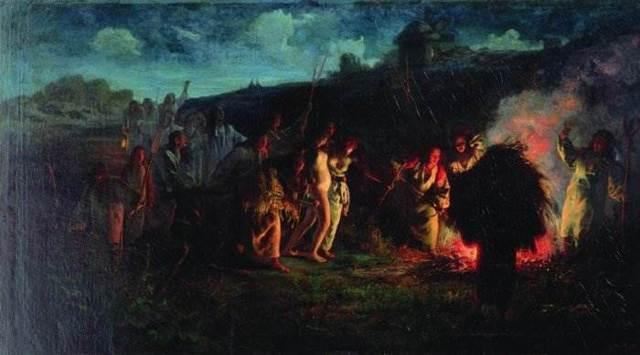 Молебен на пашне о даровании дождя, Мясоедов - описание картины