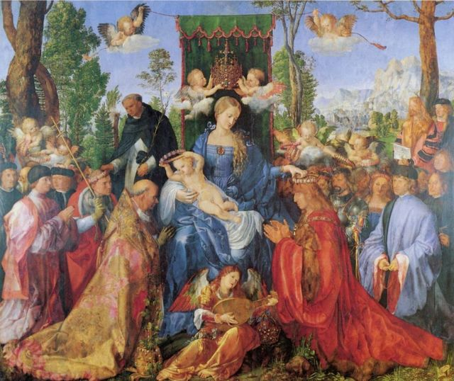 «Праздник венков из роз», Альбрехт Дюрер — описание картины