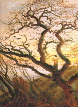 «Дерево с воронами; могильный курган у Балтийского моря и остров Рюген», Каспар Давид Фридрих — описание картины