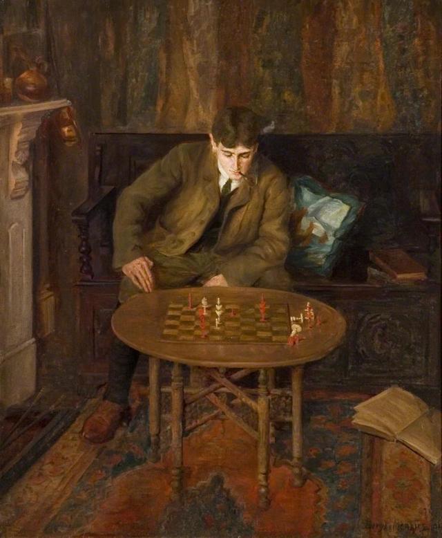 «Сам с собою, или Игра в шахматы», Мясоедов — описание картины