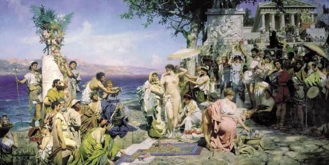 «Фрина на празднике Посейдона», Семирадский — описание картины