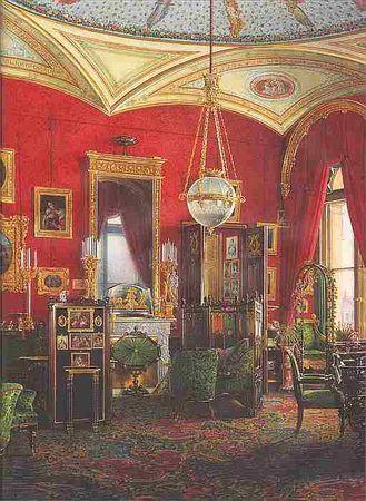 Виды залов Зимнего дворца. Кабинет императрицы Александры Федоровны, Эдуард Гау, 1858