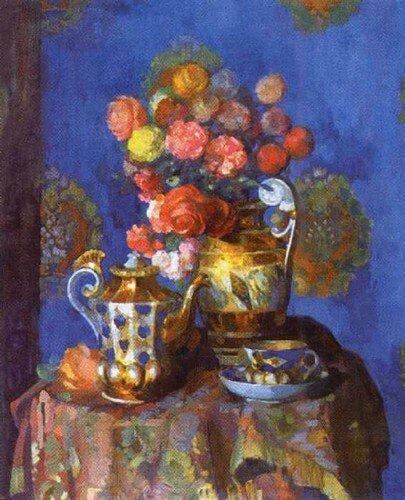 Натюрморт с цветами, Н. Н. Сапунов, 1912