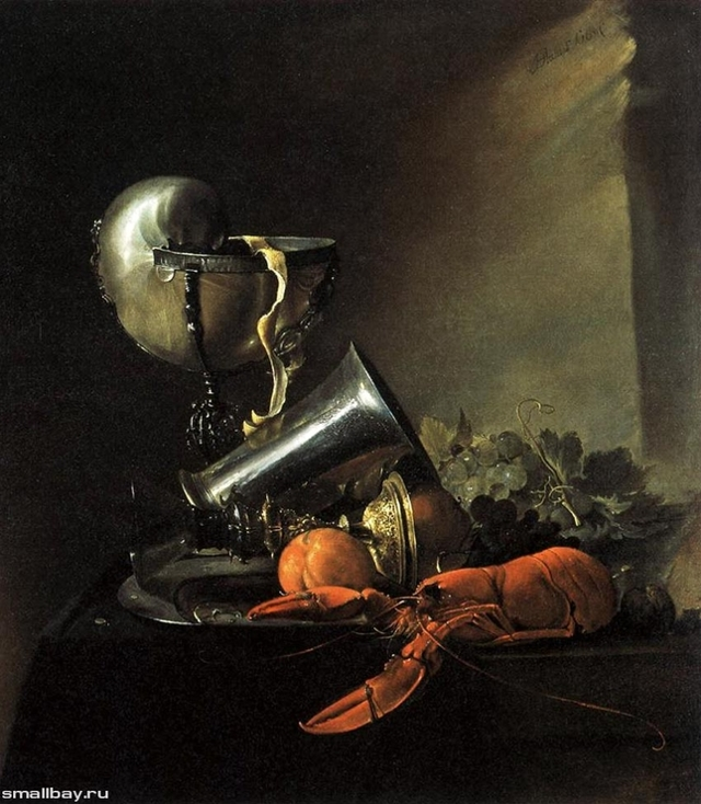 Цветы в стеклянной вазе и фрукты, Ян Давидс де Хем