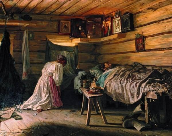 «Внутренний вид избы», Василий Максимович Максимов — описание картины