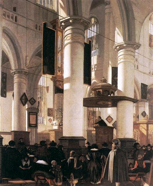 Интерьер Старой церкви в Амстердаме во время службы, Эманюэл де Витте