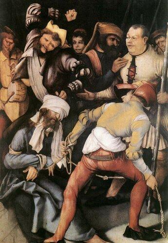 «Встреча святого Эразма и святого Маврикия», Маттиас Грюневальд — описание картины