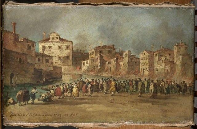 Пожар в квартале Сан-Маркуола, Франческо Гварди, 1789