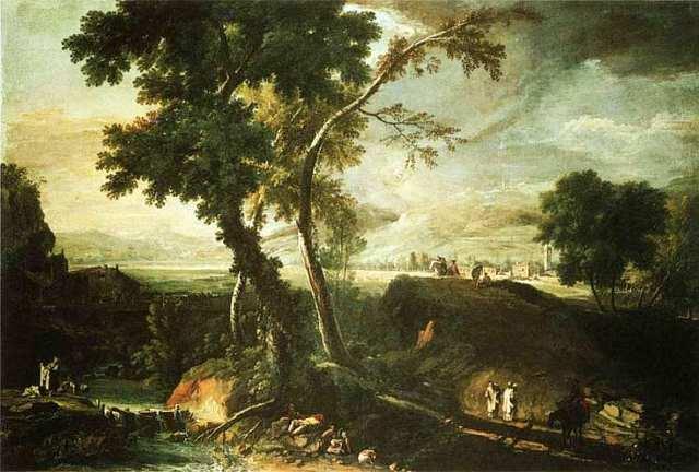 Пейзаж с потоком, монахами и прачками - Марко Риччи