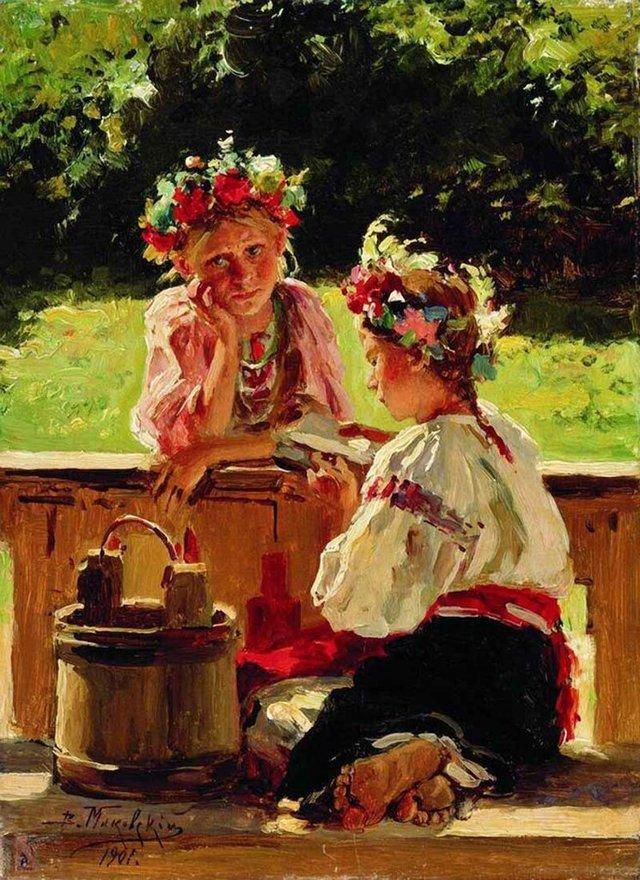 «Девушки, освещенные солнцем», Владимир Егорович Маковский — описание картины