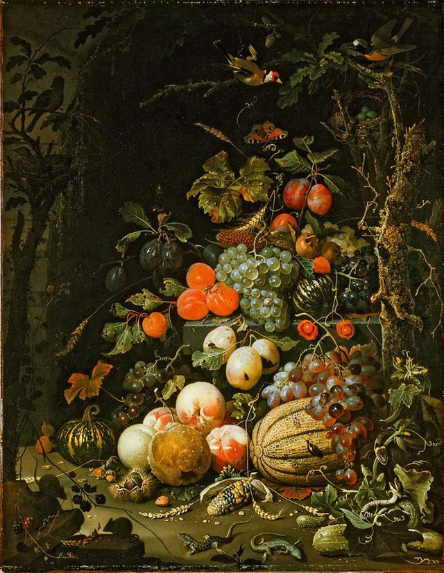 Натюрморт с фруктами, овощами, цветами и двумя ящерицами