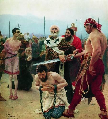 Николай Мирликийский избавляет от смерти трех невинно осужденных, Репин